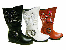 girls kids children toddler new leather party boots shoes size 7 8 9 10 11