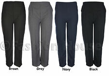 Ladies Elasticated Waist Trousers Sizes 8 10 12 14 16 18 20 22 24 26 Black Grey