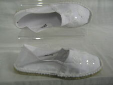 Ladies Spot On white espadrilles with sequin detail F2188