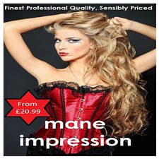 Straight Clip in, clip on Remy Human Hair Extensions Full Head Mane Impression