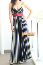 f151 BNWT RRP$159.95 SHEIKE V neck Strippe Maxi Formal Evening Dress Size 8