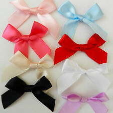 20 large satin bows approx 56mm   pink white black blue lilac red champagne