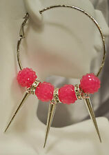 "2.5"" SPIKED BASKETBALL WIVES INSPIRED BEAD HOOP EARRINGS"