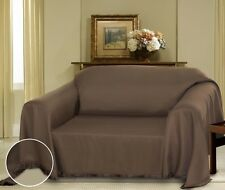 BROWN CIELO JACQUARD FURNITURE THROW COVER, FANCY FRINGE BORDER, SLIPCOVER SOFA