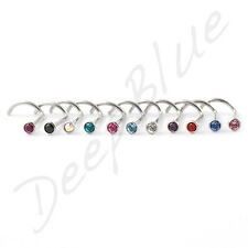 Nose Stud / Curved 0.8mm STEEL BAR with 2mm BEZEL SET  Stone Gem CHOOSE COLOUR