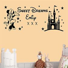 Sweet dreams princess minnie mouse wall art  girls bedroom sticker  personalised