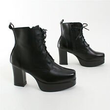 Lady's Black Leather Military Combat Platform High heel Womens Boots-Us 5 to 7.5