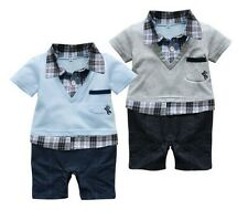 NWT Boy Baby Formal Suit Romper Pants 0-18M One-piece Jumpsuit Clothes Outfits