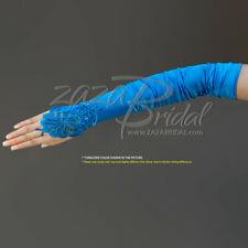 GATHERED SATIN FINGERLESS GLOVES WITH A FLORAL EMBROIDERY LACE, SEQUINS & PEARL