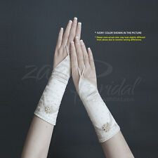 ALL OVER BEADS SHINY SATIN FINGERLESS GLOVES WITH DECORATED BEADS AND PEARLS