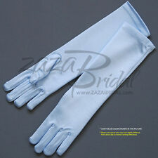 SHINY STRETCH LONG SATIN DRESS GLOVES FOR GIRL - ONE SIZE 4-7 YRS (6BL)