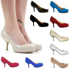 WOMENS LADIES LOW MID KITTEN HEEL PLATFORM PARTY OFFICE WORK COURT SHOES SIZE