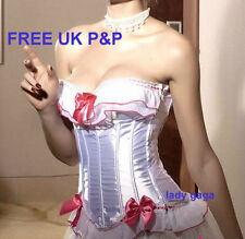 SEXY WHITE PINK SATIN BURLESQUE MOULIN ROUGE SEXY BASQUE CORSET TOP SIZE 8 & 10