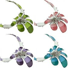 Designer Chic Enamel Hibiscus Flowers Necklace Earrings Set w/ Swarovski Crystal