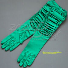 Gathered Shiny Stretch Satin Dress Gloves Adjust the Length- Various Colors