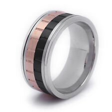 Stainless Steel 3 Tones Spinner Mens Ring Size 10 11 12