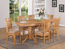 5-PC VANCOUVER OVAL DINETTE KITCHEN DINING SET TABLE w/4 UPHOLSTER CHAIRS IN OAK