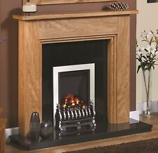 """NEW 54"""" NATURAL OAK WOODEN FIREPLACE COMPLETE WITH GAS FIRE BACK PANEL&HEARTH"""