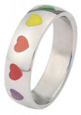 Pride Shack - Rainbow Smooth Hearts Ring - LGBT Lesbian Gay Pride Ring Steel