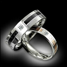 Shining rhinestone Titanium Steel Promise Ring Couple Wedding Bands Gift J09