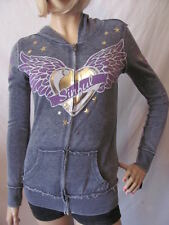New SINFUL Affliction Womens Grey Knit L/S Alto Burnout Zip Hoodie $98