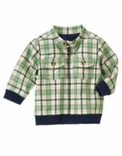 NWT Gymboree Smart Little Guy Jacket 0 3 6 12 18 m Green Navy Plaid Zip Lined