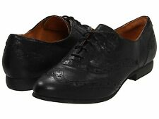 Women's Indigo by Clarks Charlie Brogue WingTip Oxford Black Leather 63143