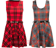 X39 WOMENS LADIES NAUTICAL STRIPE SKATER FLARE SHORT TAILORED BELTED PARTY DRESS
