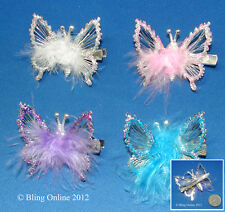 SMALL 4.5cm DIAMANTE CRYSTAL & FEATHER BUTTERFLY HAIR CLIP GRIP WHITE LILAC BLUE