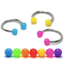 COLOURFUL CURVED CIRCULAR BARBELL SEPTUM HORSESHOE LIP RING SURGICAL STEEL