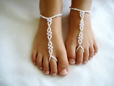Girls ~ Barefoot Sandals ~ Beach-Wedding ~ ( white pears )
