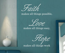 Wall Decal Sticker Quote Vinyl Art Faith Makes All Things Possible Religious R32