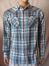 New GUESS Mens Blue Casual Western Flannel Snap Button Butler Plaid Shirt $89