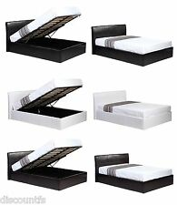 3ft 4ft6 5ft Ottoman Gas Lift Up Storage Faux Leather Bed + Memory Foam Mattress