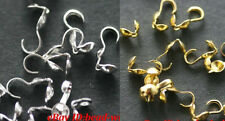 Free Shipping 100pcs Silver/Gold Plated Metal Crimp&End Beads For Necklace