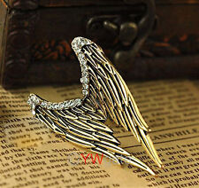 Vintage Retro Silver Bronze Angel Wings Crystal Rhinestone Adjustable Ring