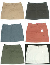 New $44 CROFT & BARROW Womans Zipper Cargo Pocket SKORT Shorts Skirt Natural Fit