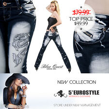 BNWT SEXY JEANS TATTOO LOW RISE BOOTCUT DRAGON SILVER SEQUINS XS S M L XL