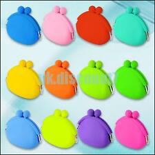 Cute Womens Girls Candy Color Silicone Wallet Key Coin Purse Rubber Pouch Case