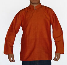 TRADITIONAL TIBETAN SHIRT FOR MEN OR WOMEN COTTON ORANGE
