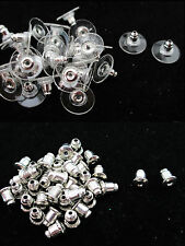 50/100/200 Pairs 2 Designs Silver Plated Earring Backs / Stoppers For Ear Studs
