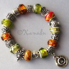 Tea Time European Charm Bracelet - Brown Green Lampwork Glass Bead w Tea Charms