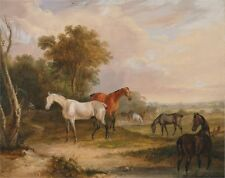 Horses Grazing Grey Stallion Grazing Mares Meadow Francis Calcraft Turner Art P