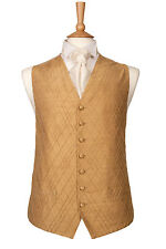 MENS BOYS DESIGNER GOLD SILK WEDDING DRESS SUIT WAISTCOAT 38 40 42 44 46 48 50