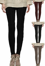New Womens Cable Knit Thick Stretch Ladies Long Leggings Size 08-14