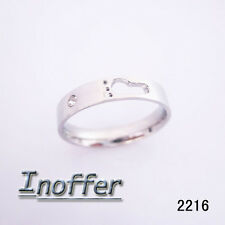 Women Stainless Steel Footprint Crystal Ring ID:2216 US Size:4 5 6 7 8 (1 Pcs)