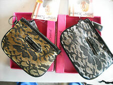 DESIGNER BETSEY JOHNSON ROYAL LACE ZIP TOP LARGE COIN PURSE IN GOLD OR SILVER