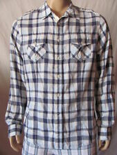 New GUESS Mens Blue Plaid Casual Button Up Pockets Jackson L/S Woven Shirt $79