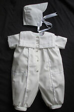 Baby Boys White Christening Gown/ Baptism Outfit Romper Size 0-12 Months