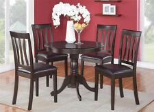 "3PC DINETTE KITCHEN SET 36"" ROUND TABLE with 2 LEATHER SEAT CHAIRS IN CAPPUCCINO"